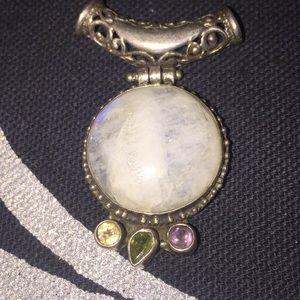 Moonstone silver pendant amethyst